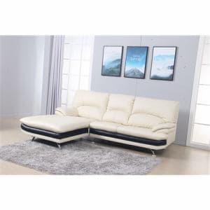 [3人掛以上]半革右カウチソファー 高密度ウレタンの快適な座り心地 幅237x奥178x高さ94 ホワイト ヤマダオリジナル