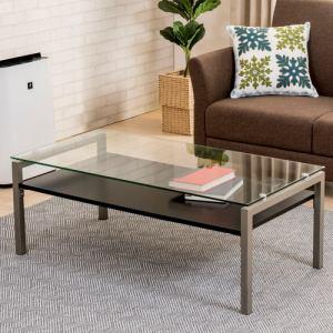 センターテーブル 棚板付き 幅110x奥行55x高さ40cm ブラック YCT170010BK ヤマダオリジナル