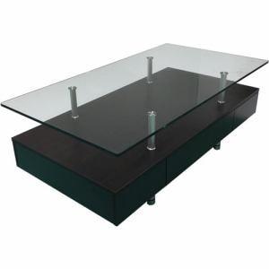 センターテーブル 棚板付き 幅120x奥行65x高さ43cm ダークブラウン YCT170012DBR ヤマダオリジナル
