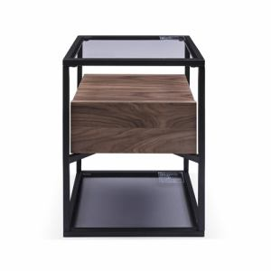 ヤマダオリジナル サイドテーブル 幅43x奥行43x高さ54 ミディアムブラウン
