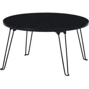 センターテーブル ローテーブル 折りたたみ収納 不二貿易 (株) 丸60cm ブラック