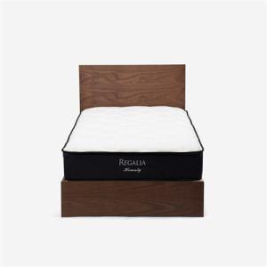 大塚家具 [ダブル]ベッドフレーム 「ノブルA」 宮無 引出し付き ウォールナット材 ウォールナット色