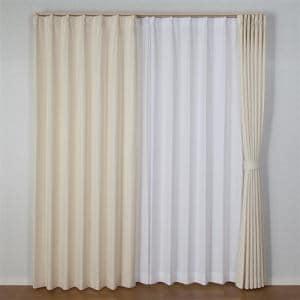 カーテン  巾100cm×丈178cm バルーン アイボリー2枚入 形状記憶加工 ウォッシャブル