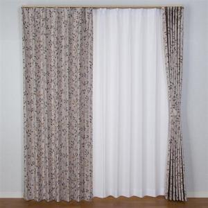 ドレープ遮光カーテン リリス ベージュ 巾100cm×丈105cm 2枚入