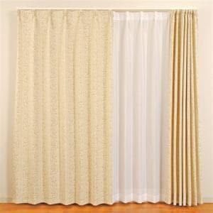 カーテン 巾100cm×丈200cm ドーマ ベージュ 2枚入 ウォッシャブル
