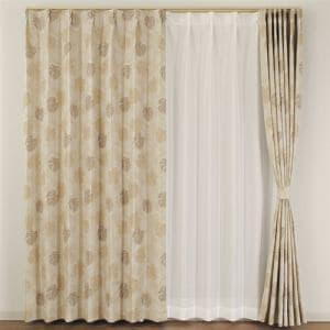 カーテン 巾100cm×丈200cm スコーネ ベージュ  2枚入 遮光 形状記憶加工 ウォッシャブル