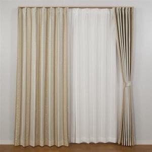 カーテン 巾100cm×丈178cm アングル ベージュ 2枚入 遮光性あり 形状記憶加工 遮熱・断熱効果あり ウォッシャブル