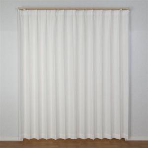 カーテン エコフラワーストライプ ホワイト 巾100cm×丈133cm 2枚入