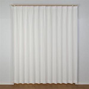 カーテン エコフラワーストライプ ホワイト 巾100cm×丈176cm 2枚入