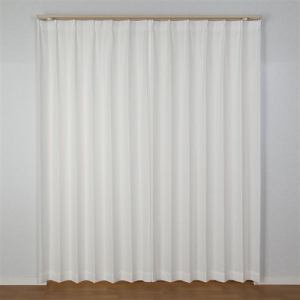 レースカーテン 幅100cm×丈198cm エコフラワーストライプ ホワイト  2枚入 遮熱・断熱効果あり 見えにくい UVカット 防炎 ウォッシャブル