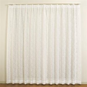 レースカーテン 巾100cm×丈133cm メタル ホワイト  2枚入 外から室内が見えにくい ウォッシャブル