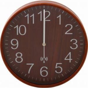 プライウッド電波掛時計 Φ28cm BR ブラウン 家具 インテリア 雑貨 電波掛時計