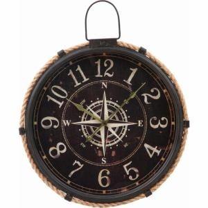 ウォールクロック コンパス φ47cm ブラック 家具 インテリア 雑貨 掛時計