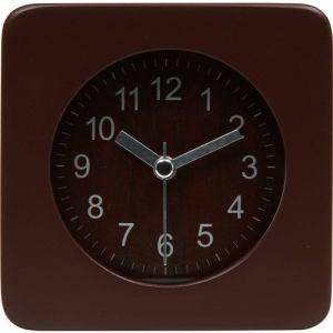 アラームクロック・置時計 スクエアウッド ブラウン 高さ約10cm
