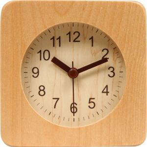 アラームクロック・置時計 スクエアウッド ナチュラル 高さ約10cm