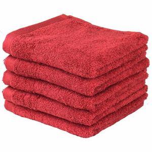 タオル 綿100% ベトナムしっかりカラー レッド フェイスタオル 吸水性 耐久性に優れ (1枚)
