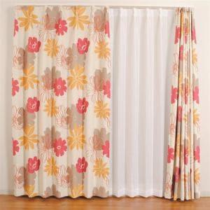 カーテン ディアス レッド 巾100cm×丈200cm 2枚入