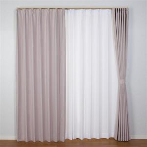 ドレープ遮光カーテン ココモ ローズ 巾100cm×丈200cm 2枚入
