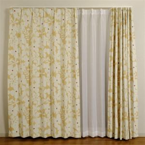 カーテン 巾100cm×丈135cm クロス イエロー 2枚入 遮光性あり 形状記憶加工 ウォッシャブル
