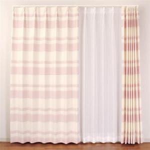 ドレープカーテン ピスタ ピンク 巾100cm×丈178cm 2枚入