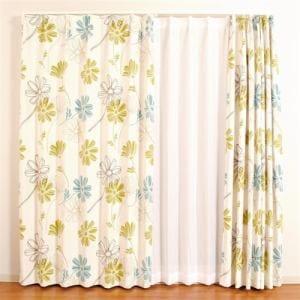 ドレープ遮光カーテン パリス グリーン 巾100cm×丈178cm 2枚入