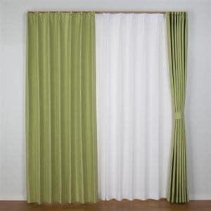 カーテン 巾100cm×丈200cm コローレ グリーン 2枚入 遮光性あり 遮熱・断熱効果あり 形状記憶加工 ウォッシャブル