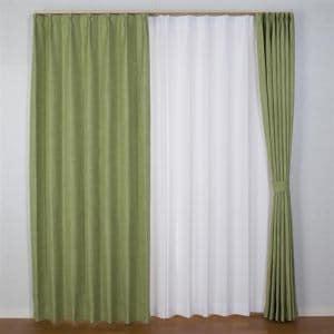カーテン 巾100cm×丈200cm ジェード グリーン 2枚入 遮光性あり 形状記憶加工 ウォッシャブル