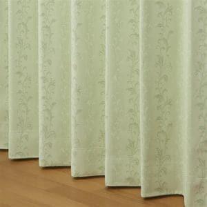 遮光・防炎カーテン 巾100cm×丈178cm プロローグ グリーン 2枚入 ウォッシャブル