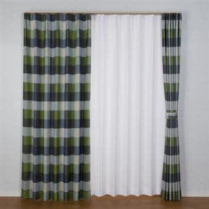 [100×178]ドレープ遮光カーテン グリル グリーン2枚入