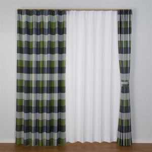 [100×200]ドレープ遮光カーテン グリル グリーン2枚入