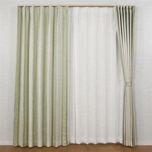 カーテン  巾200cm×丈178cm アングル グリーン1枚入 遮光性あり 遮熱・断熱効果あり 形状記憶加工 ウォッシャブル