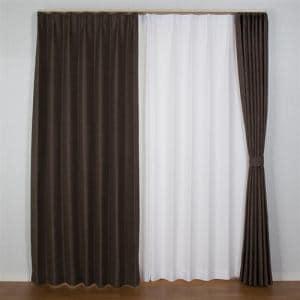 カーテン  巾100cm×丈105cm コローレ ダークブラウン2枚入 遮光性あり 遮熱・断熱効果あり 形状記憶加工 ウォッシャブル