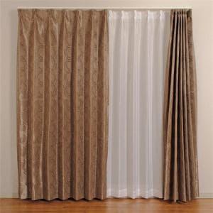 遮光カーテン 巾150cm×丈178cm フロスト ブラウン 1枚入 形状記憶加工 ウォッシャブル
