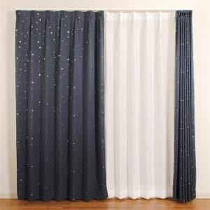 カーテン 巾100cm×丈200cm キロロ ネイビー 2枚入 遮光性あり ウォッシャブル