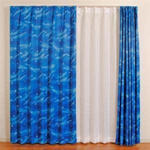 [100×135]カーテンドルフィン ブルー 2枚入 遮光性あり ウォッシャブル