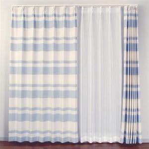 ドレープカーテン ピスタ ブルー 巾100cm×丈200cm 2枚入