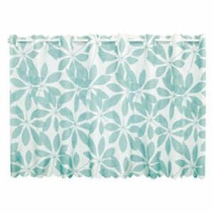 カフェカーテン 撥水リーフ ブルー 巾145cm×丈75cm