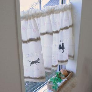 カフェカーテン ステッチキャット2 ベージュ 巾110cm×丈45cm