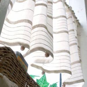 カフェカーテン インド綿ザック ベージュ 巾110cm×丈45cm