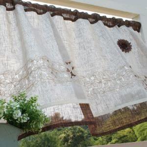 カフェカーテン コサージュヴィヴィアン ブラウン 巾110cm×丈45cm