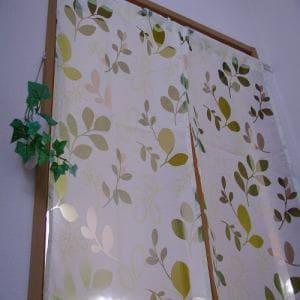 のれん オパールリーフ グリーン 巾85cm×丈150cm