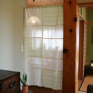 のれん インド綿イタワ グリーン 巾85cm×丈150cm