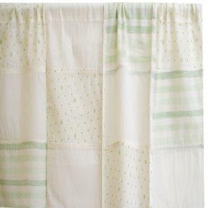 カフェカーテン インド綿イタワ グリーン 巾110cm×丈45cm
