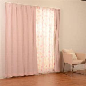 カーテン 4Pサリナ ピンク 巾100cm×丈200cm 4枚入