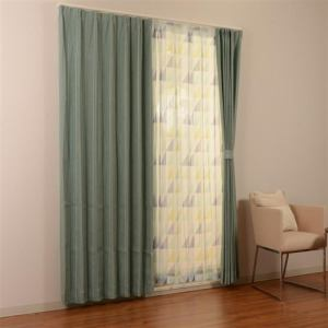 カーテン 4Pルーフ ブルー 巾100cm×丈178cm 4枚入