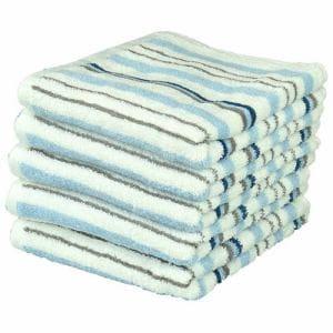 タオル 綿100% しっかりストライプ ブルー フェイスタオル 吸水性 耐久性に優れ (1枚)