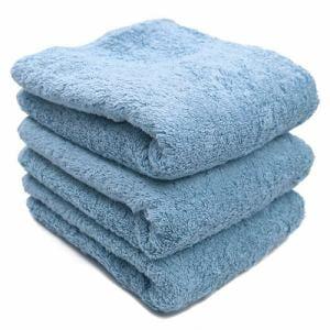 タオル 綿100% スーピマカラー クリスタルブルー フェイスタオル 耐久性あり (1枚)