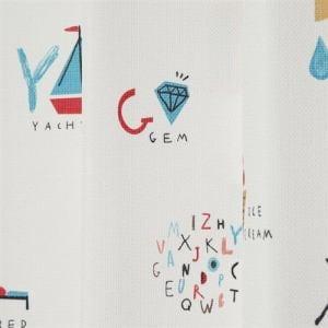 カーテン アルファベットズカン ホワイト 巾100cm×丈200cm 2枚入