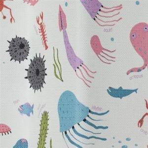 カーテン ウミノイキモノズカン ブルー 巾100cm×丈178cm 2枚入
