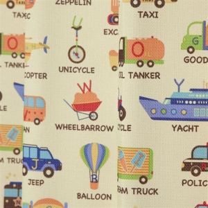 カーテン ノリモノズカン イエロー 巾100cm×丈135cm 2枚入
